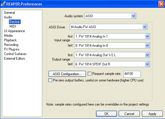 Setting up AUDIO Selecting an Audio system To select an audio system, select Options > Preferences (Ctrl+P) > Audio > Device.