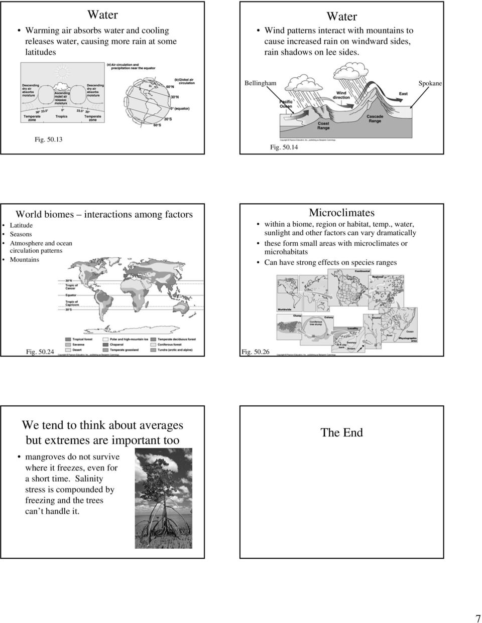 13 Fig. 50.14 World biomes interactions among factors Latitude Seasons Atmosphere and ocean circulation patterns Mountains Microclimates within a biome, region or habitat, temp.