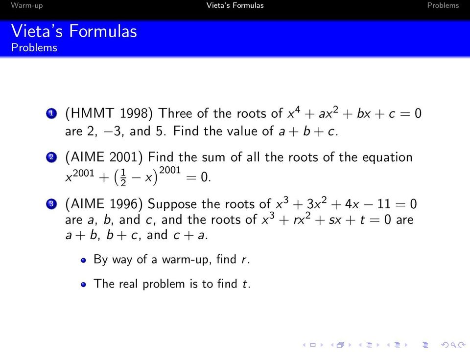 2 (AIME 2001) Find the sum of all the roots of the equation x 2001 + ( 1 2 x) 2001 = 0.