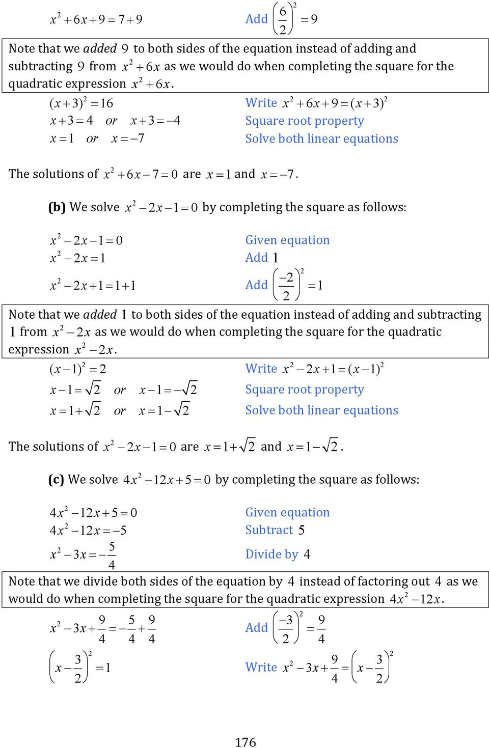 worksheet Solving Equations By Completing The Square Worksheet chapter 8 quadratic equations and functions pdf b we solve x 1 0 by completing the square as follows
