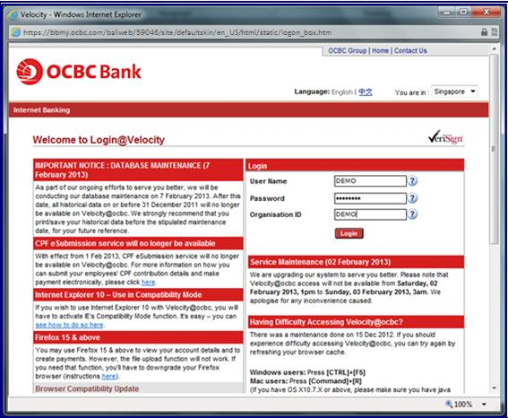 com > Click on Login to Velocity@ocbc Enter your