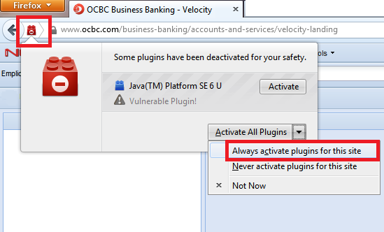 Login using Firefox 1. Launch Firefox and go to bbmy.ocbc.com > Click on Login to Velocity@ocbc 2. Some Firefox user may encounter the following message.