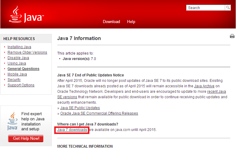 3. Click on Where can I get Java 7? 4.