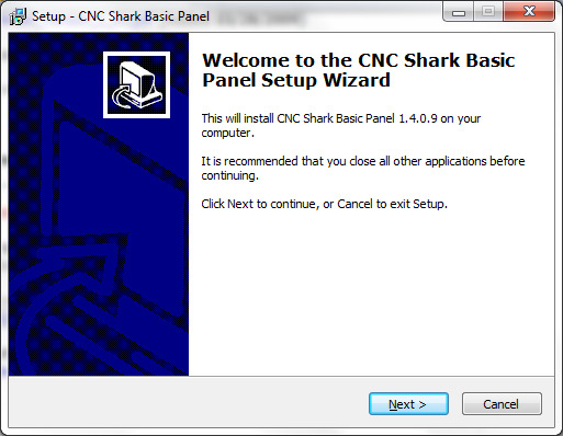 On the Welcome to the CNC Shark Basic Panel Setup Wizard as shown below, click Next. Follow the instructions in the wizard for install.