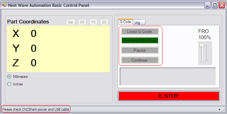 Upon running the application, the Next Wave Automation Basic Control Panel will be displayed.