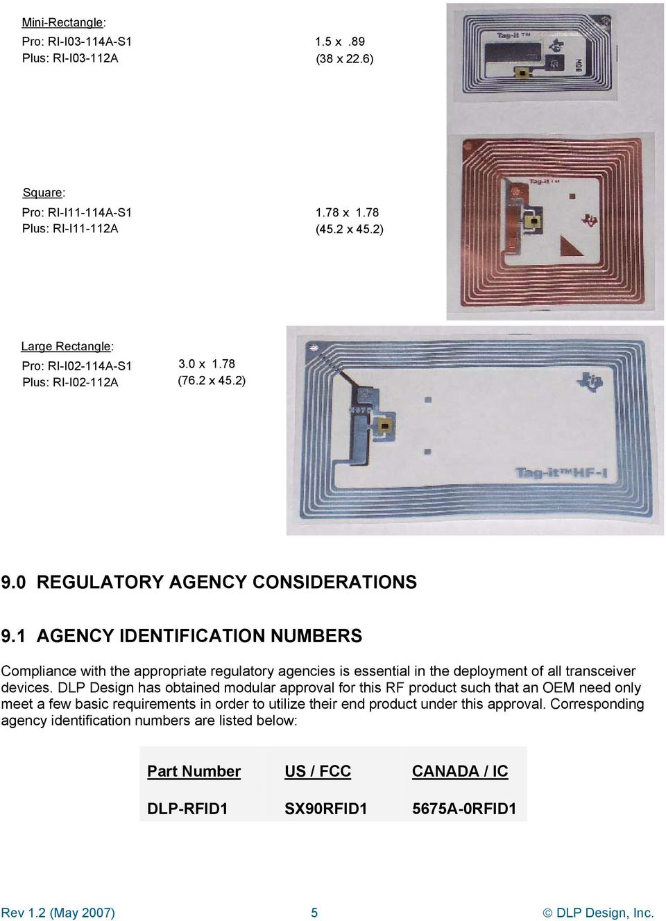 1 AGENCY IDENTIFICATION NUMBERS Compliance with the appropriate regulatory agencies is essential in the deployment of all transceiver devices.
