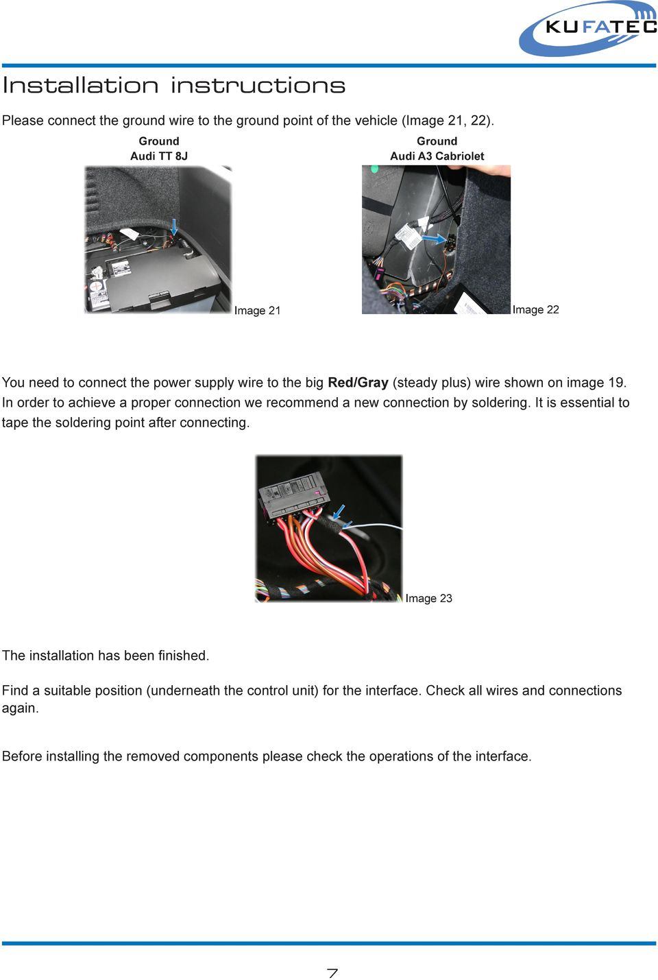 Installation Guide Convertible Top Interface Audi Pdf Rj45 Connector Wiring Diagram As Well Infrared Controls In Order To Achieve A Proper Connection We Recommend New By Soldering It
