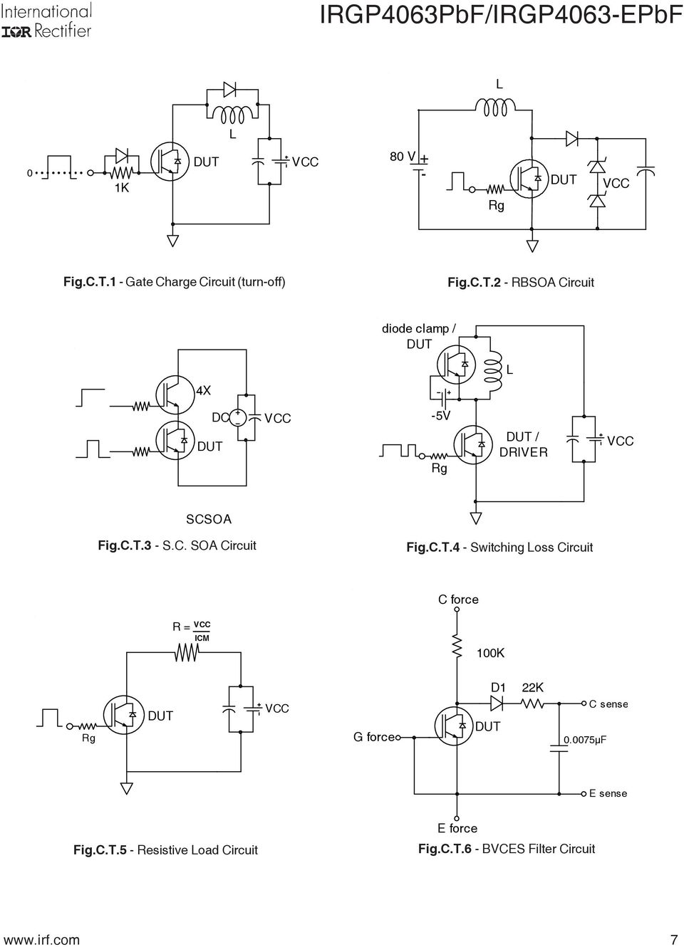 C.T.4 - Switching Loss Circuit C force R = VCC ICM 1K Rg VCC G force D1 22K.