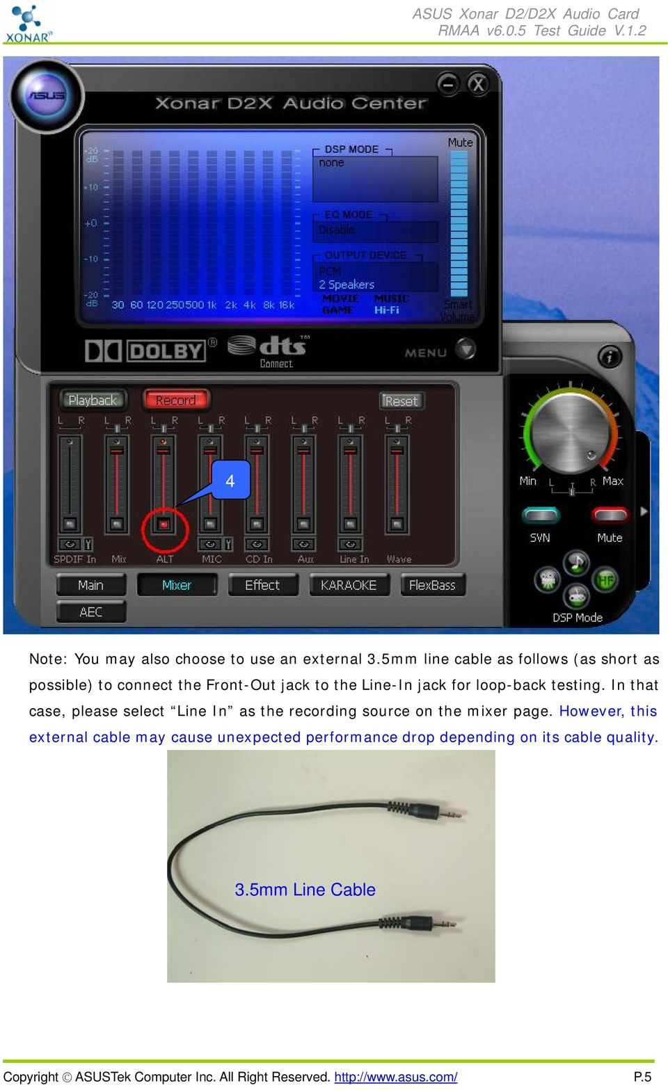 loop-back testing. In that case, please select Line In as the recording source on the mixer page.