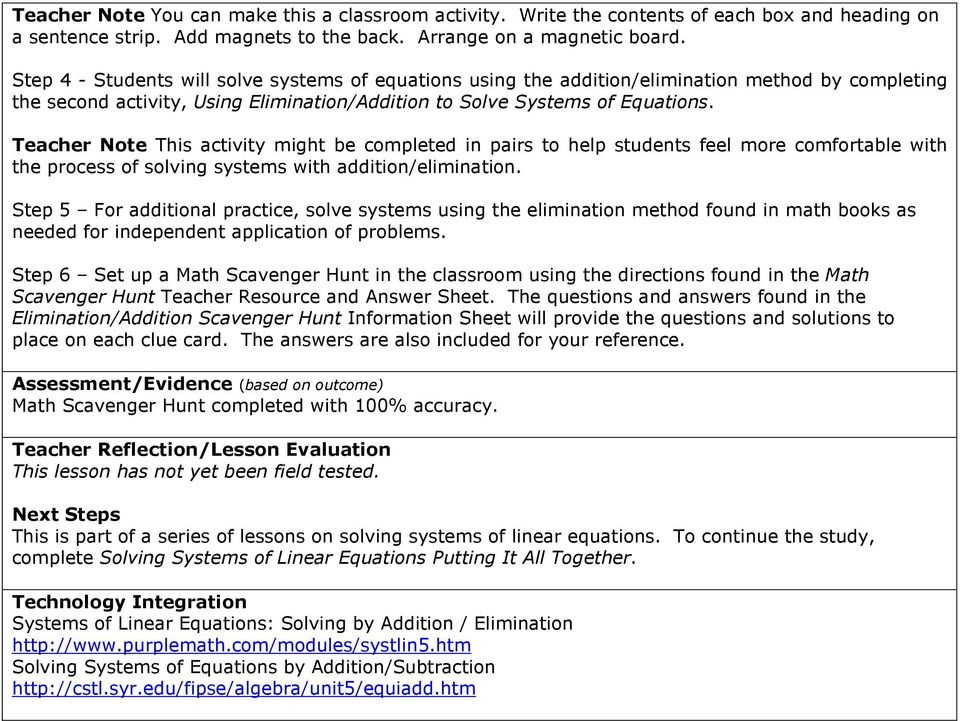 Solving Systems of Linear Equations Elimination (Addition) - PDF