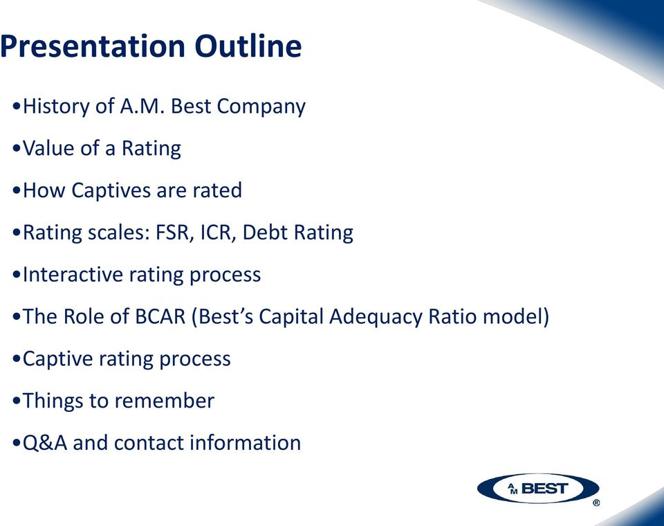 FSR, ICR, Debt Rating Interactive rating process The Role of BCAR