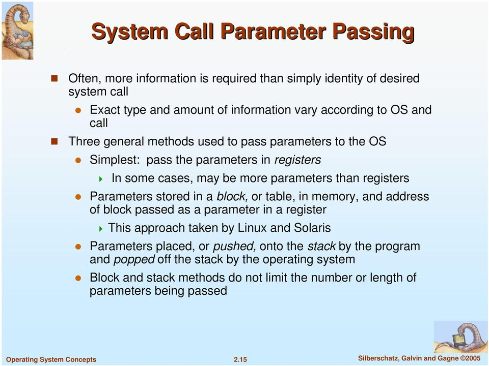 block, or table, in memory, and address of block passed as a parameter in a register This approach taken by Linux and Solaris Parameters placed, or pushed, onto the stack by the