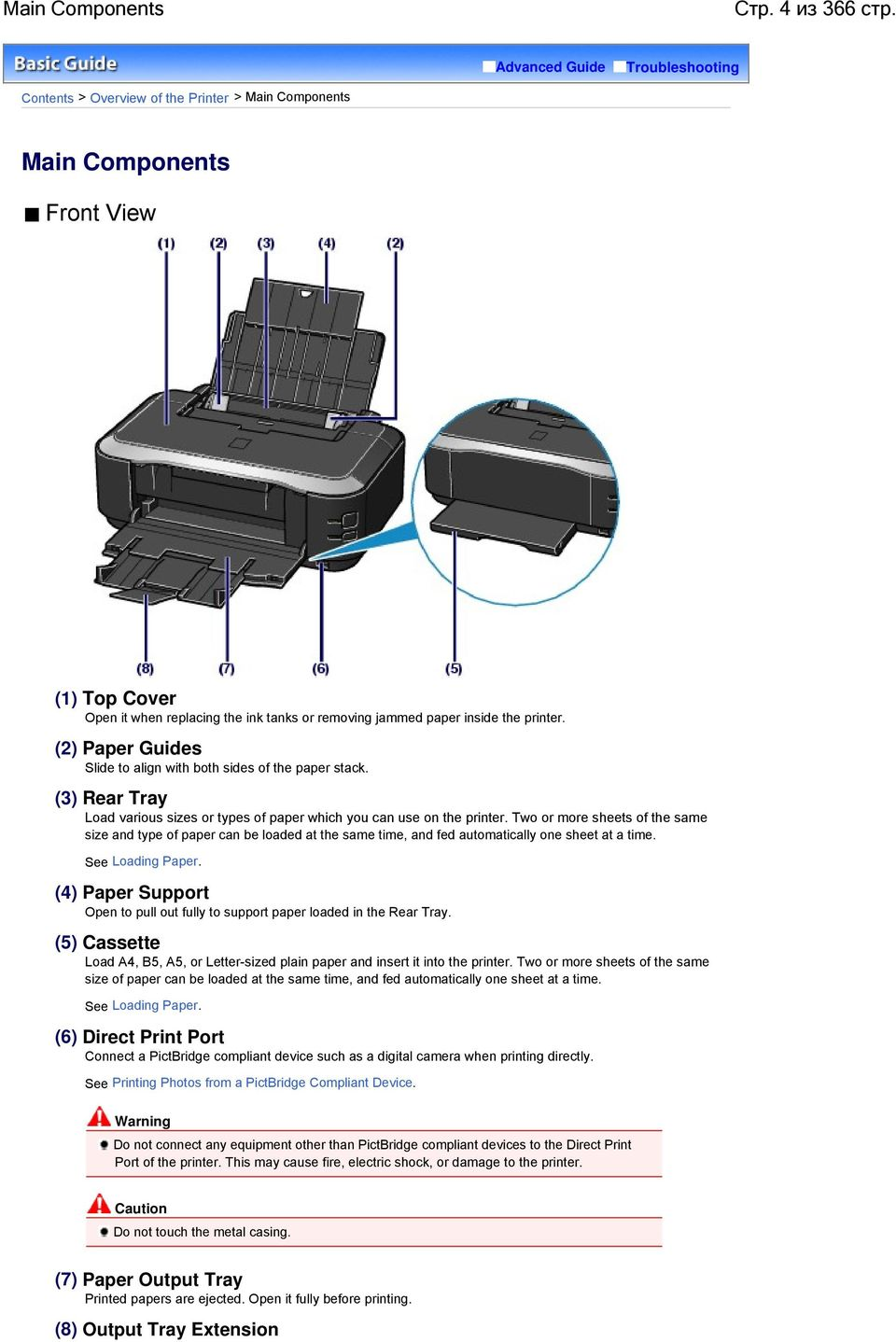 printer. (2) Paper Guides Slide to align with both sides of the paper stack. (3) Rear Tray Load various sizes or types of paper which you can use on the printer.