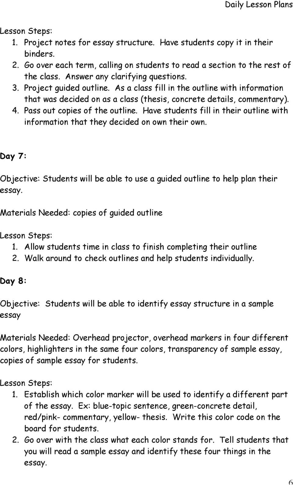 Pass out copies of the outline. Have students fill in their outline with information that they decided on own their own.