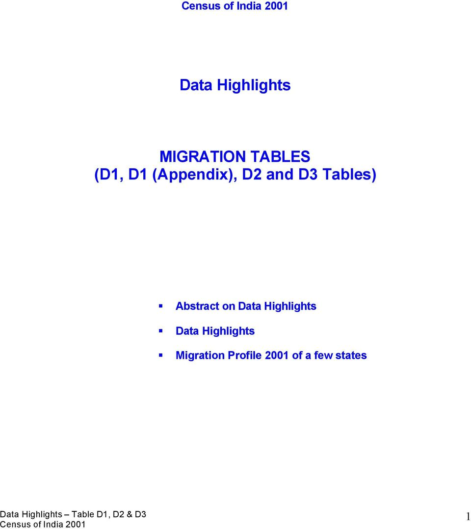 Abstract on Data Highlights Data