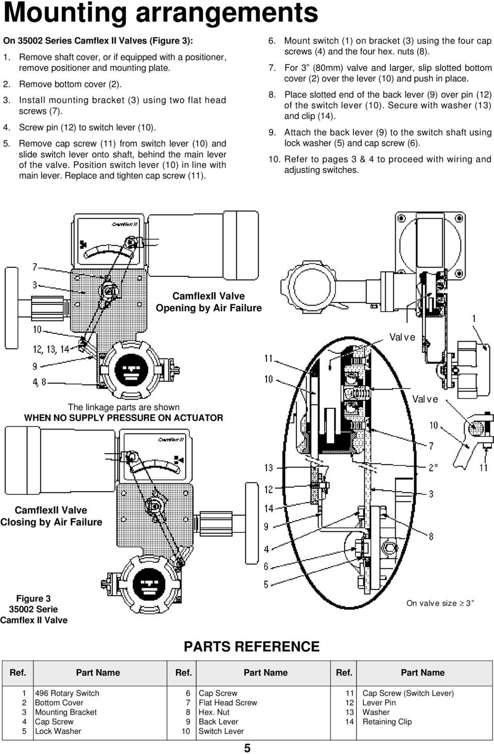 Position switch lever (10) in line with main lever. Replace and tighten cap screw (11). 6. Mount switch (1) on bracket (3) using the four cap screws (4) and the four hex. nuts (8). 7.