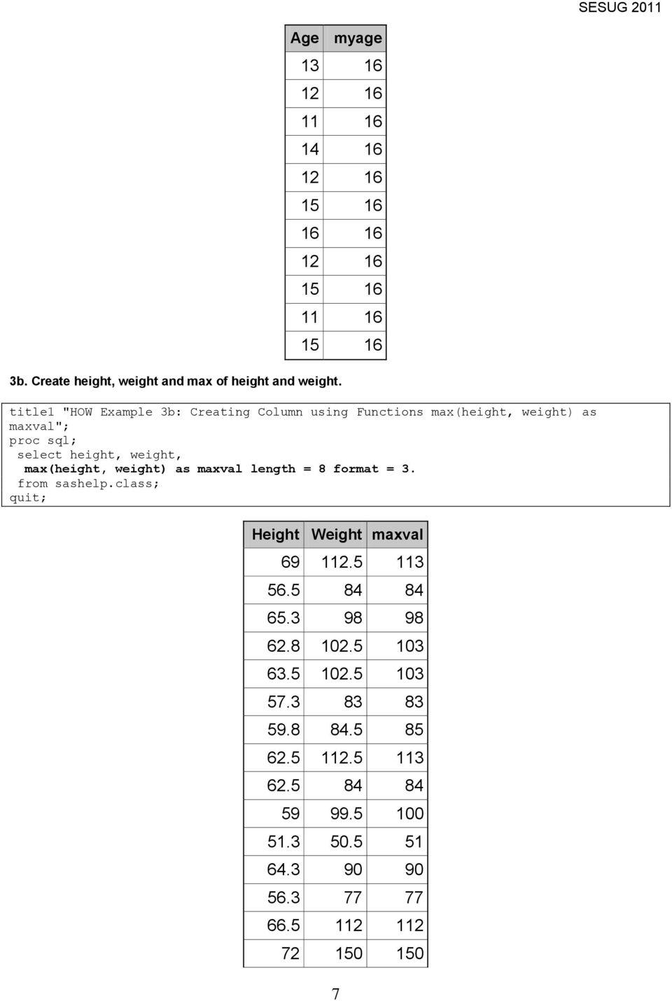 "title1 ""HOW Example 3b: Creating Column using unctions max(height, weight) as maxval""; select height, weight, max(height,"