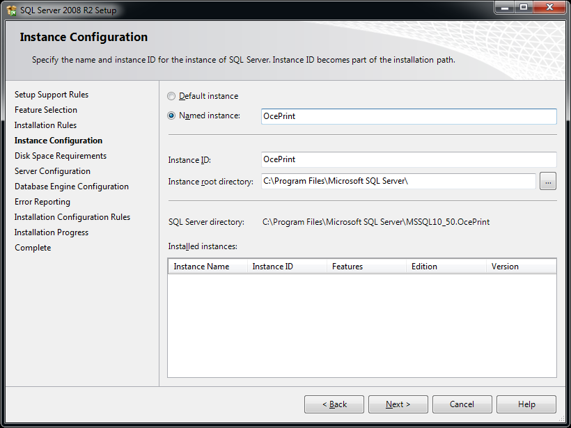SQL Server will briefly check more installation rules, and then display the Instance Configuration form.
