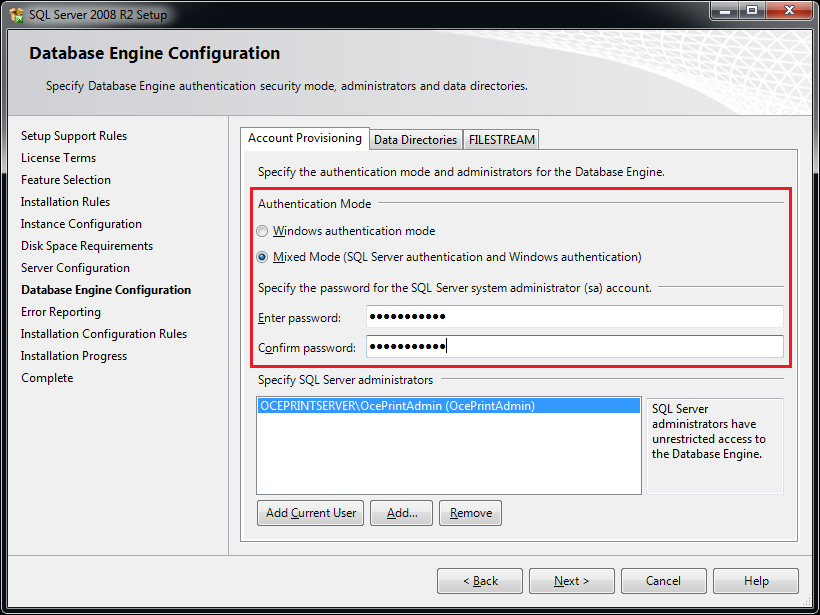 In the Database Engine Configuration form, change the Authentication Mode to Mixed Mode. Specify a password for the SQL Server authentication.