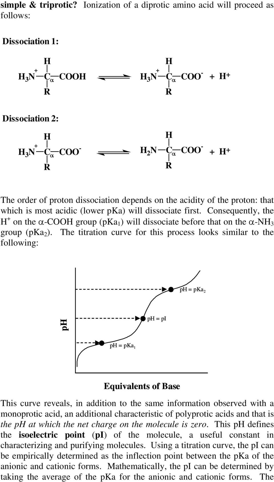 dissociation depends on the acidity of the proton: that which is most acidic (lower pka) will dissociate first.