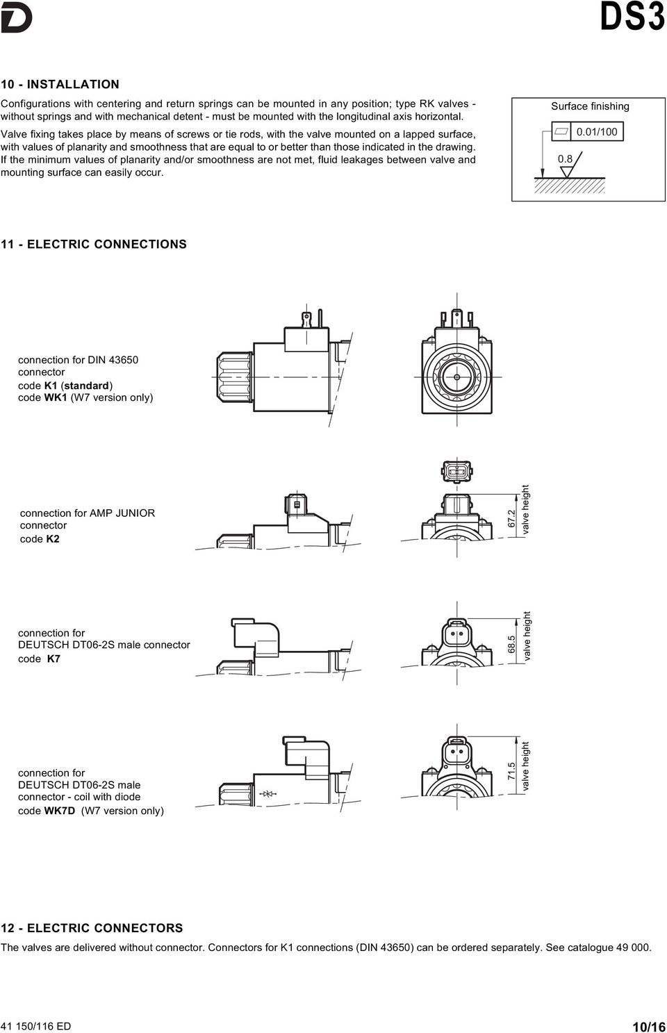 Valve fixing takes place by means of screws or tie rods, with the valve mounted on a lapped surface, with values of planarity and smoothness that are equal to or better than those indicated in the