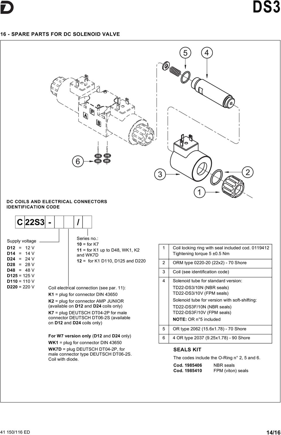 11): K1 = plug for connector DIN 43650 K2 = plug for connector AMP JUNIOR (available on D12 and D24 coils only) K7 = plug DEUTSCH DT04-2P for male connector DEUTSCH DT06-2S (available on D12 and D24