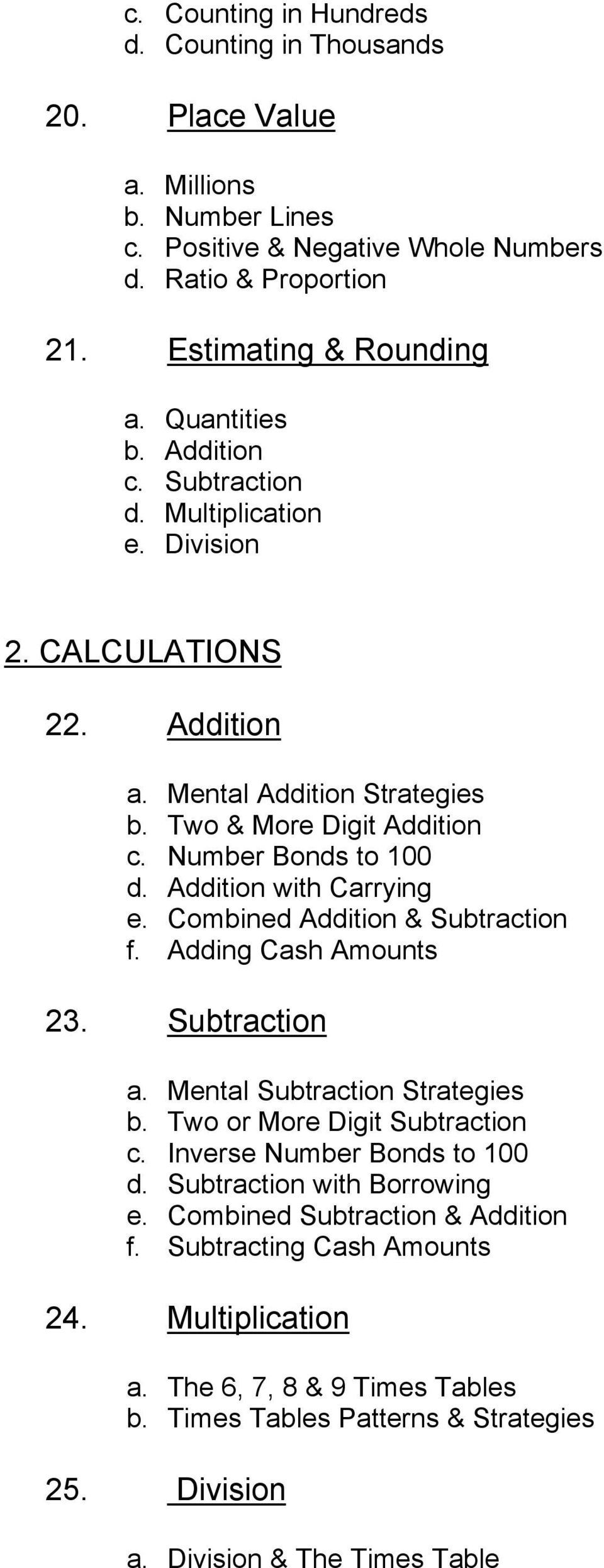 Combined Addition & Subtraction f. Adding Cash Amounts 23. Subtraction a. Mental Subtraction Strategies b. Two or More Digit Subtraction c. Inverse Number Bonds to 100 d.