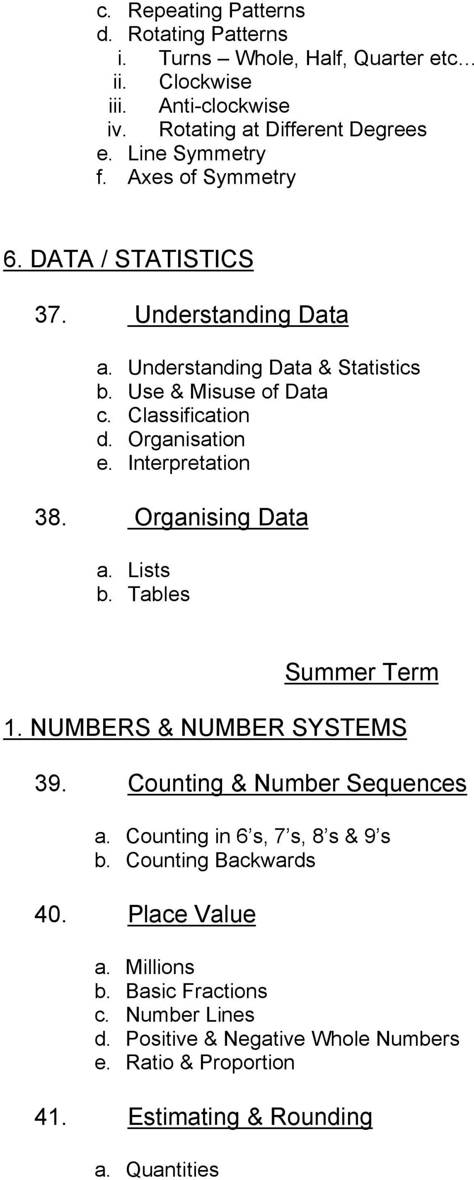Interpretation 38. Organising Data a. Lists b. Tables Summer Term 1. NUMBERS & NUMBER SYSTEMS 39. Counting & Number Sequences a. Counting in 6 s, 7 s, 8 s & 9 s b.