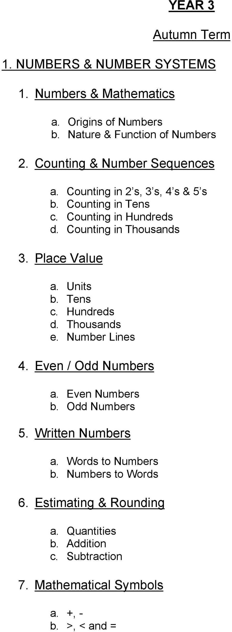 Place Value a. Units b. Tens c. Hundreds d. Thousands e. Number Lines 4. Even / Odd Numbers a. Even Numbers b. Odd Numbers 5.
