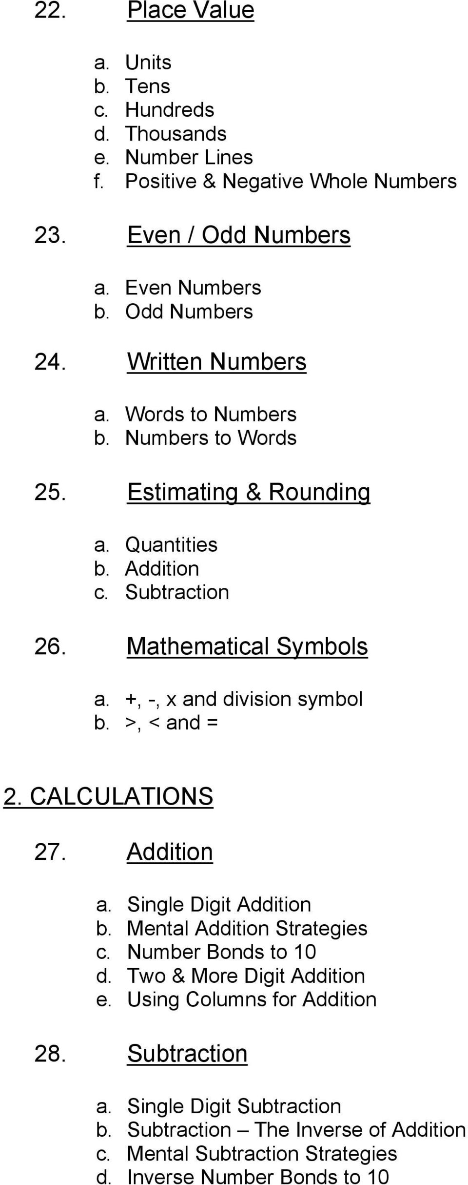 +, -, x and division symbol b. >, < and = 2. CALCULATIONS 27. Addition a. Single Digit Addition b. Mental Addition Strategies c. Number Bonds to 10 d.