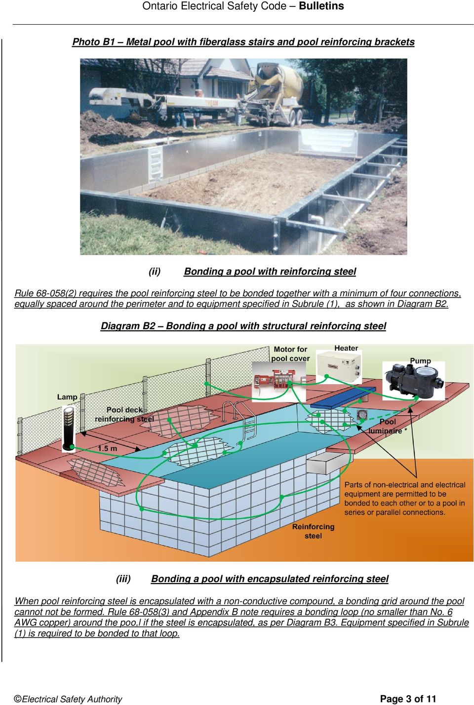 Diagram B2 Bonding a pool with structural reinforcing steel (iii) Bonding a pool with encapsulated reinforcing steel When pool reinforcing steel is encapsulated with a non-conductive compound, a