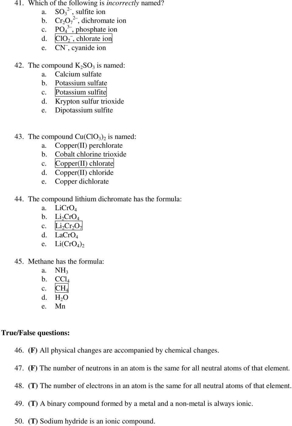 Chemistry Quiz 1 Answer Key September 16 Pdf