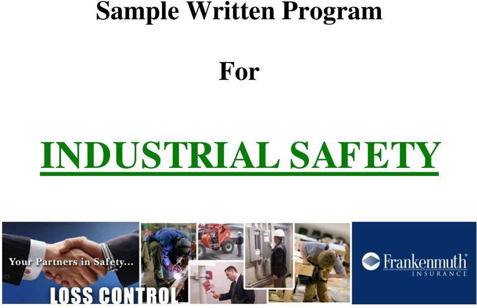 Sample Written Program For Industrial Safety  Pdf