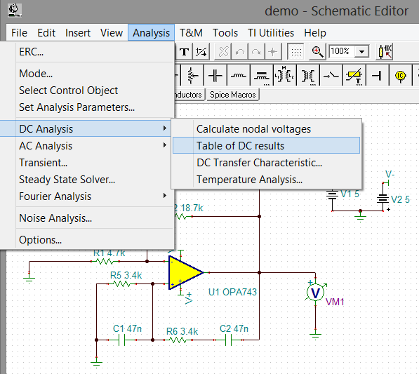 C-1 DC Analysis For a DC analysis of the example circuit, see Figure 9