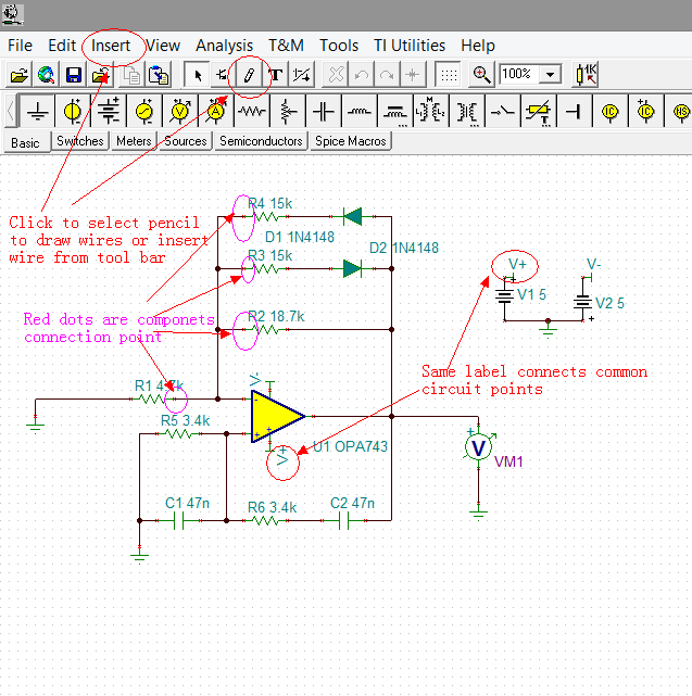 Figure 6. Circuit Arranging and Wiring (1) Arrange the components in desired positions. Make sure to leave enough space where the labels and parameters info text may fit in.