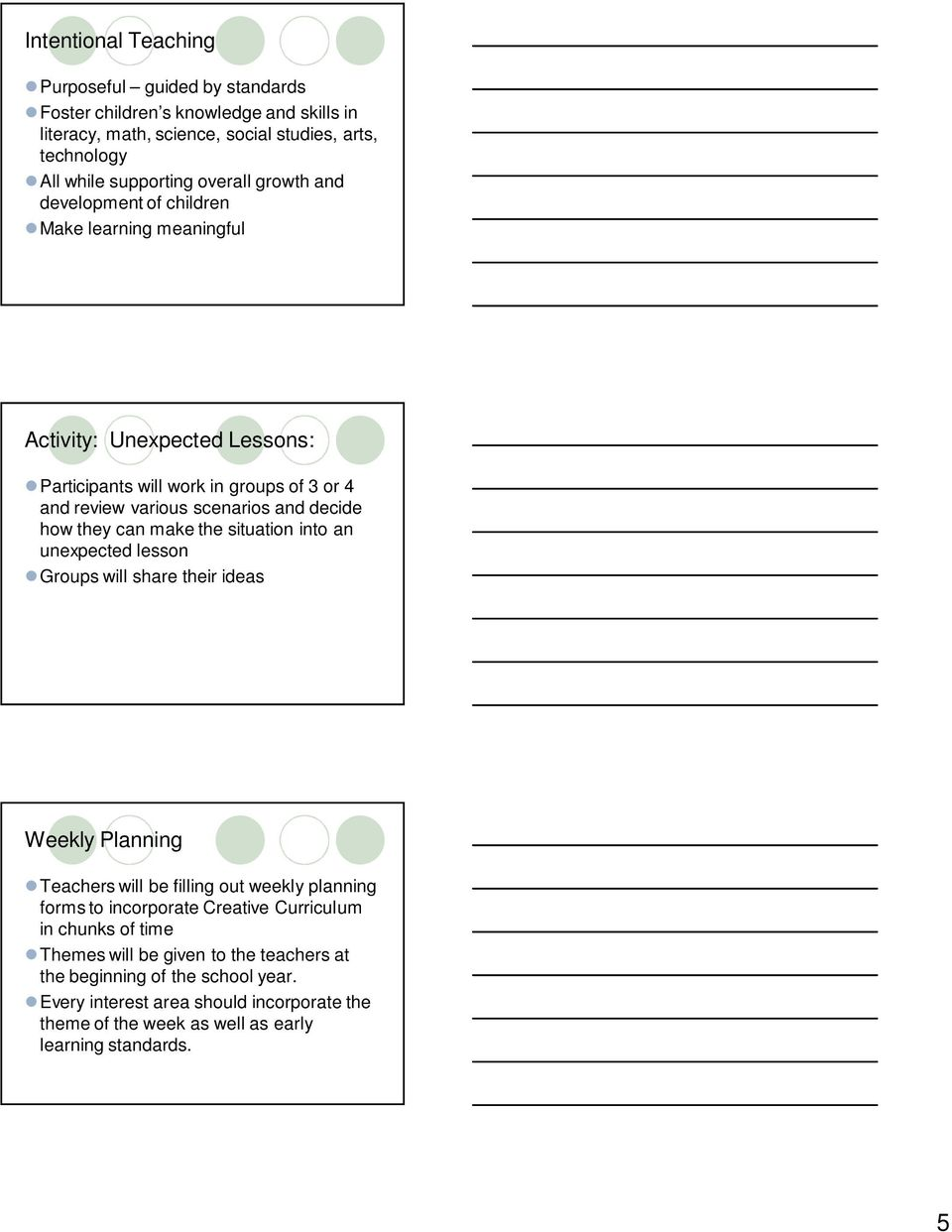 can make the situation into an unexpected lesson Groups will share their ideas Weekly Planning Teachers will be filling out weekly planning forms to incorporate Creative Curriculum in