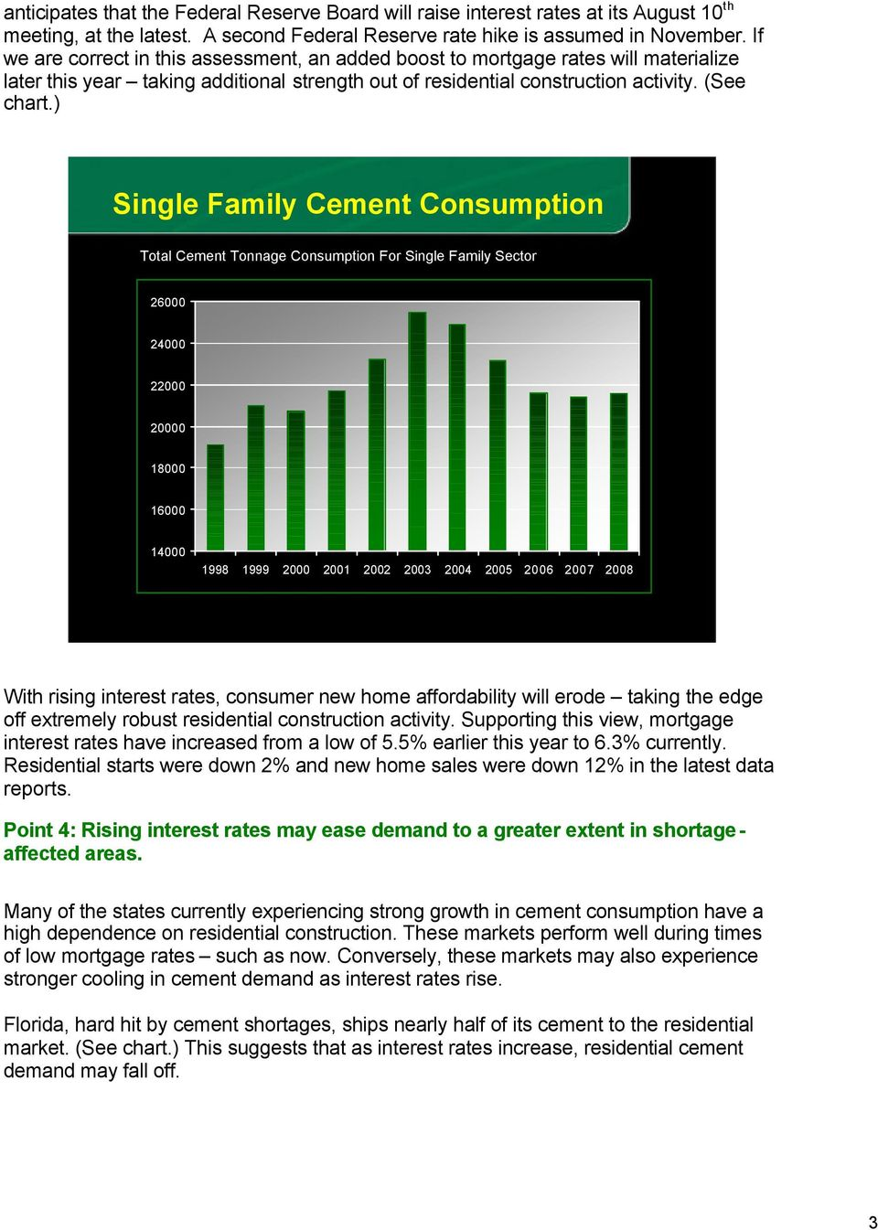) Single Family Cement Consumption Total Cement Tonnage Consumption For Single Family Sector 26000 24000 22000 20000 18000 16000 14000 1998 1999 2000 2001 2002 2003 2004 2005 2006 2007 2008 With