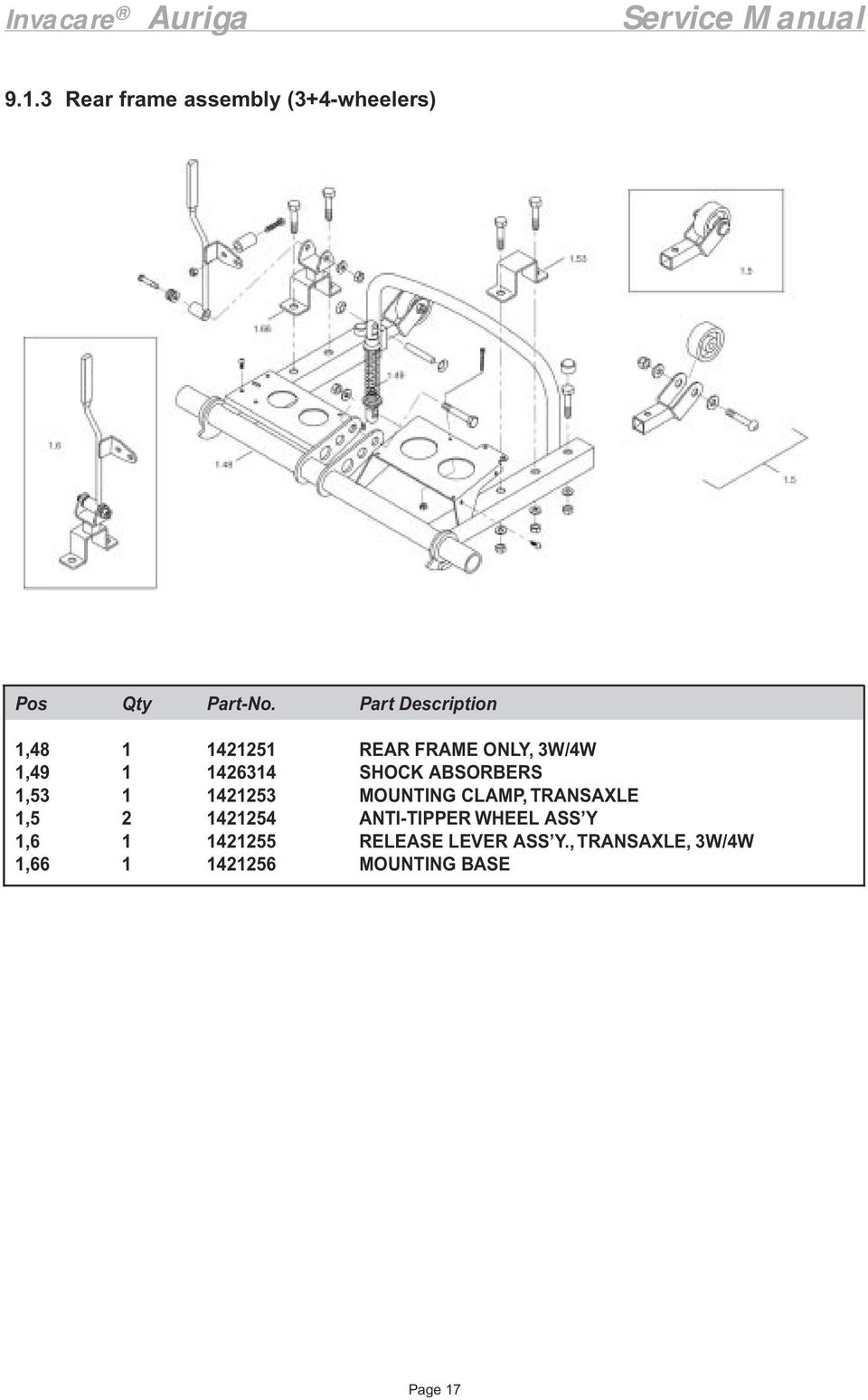 Invacare Auriga Service Manual 6 10 Km H Version Pdf 2008 C350 Fuse Box Frame Only 3w 4w Shock Absorbers Mounting Clamp Transaxle