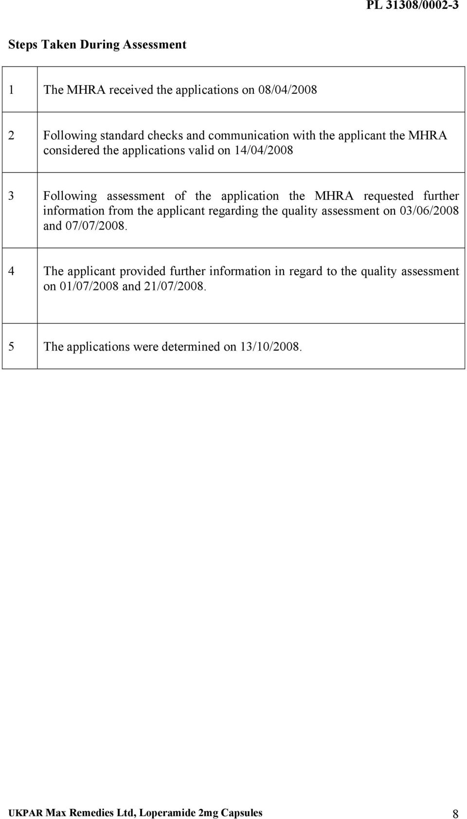 information from the applicant regarding the quality assessment on 03/06/2008 and 07/07/2008.