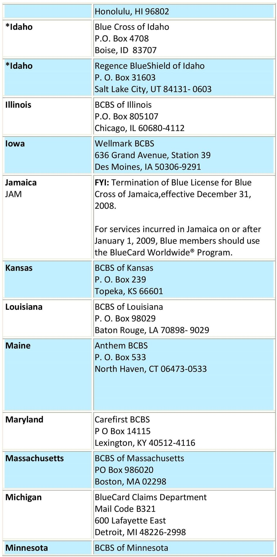 Box 805107 Chicago, IL 60680-4112 Wellmark BCBS 636 Grand Avenue, Station 39 Des Moines, IA 50306-9291 FYI: Termination of Blue License for Blue Cross of Jamaica,effective December 31, 2008.