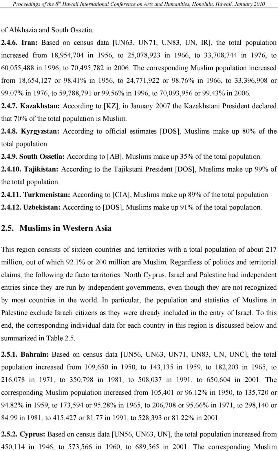 2006. The corresponding Muslim population increased from 18,654,127 or 98.41% in 1956, to 24,771,922 or 98.76% in 1966, to 33,396,908 or 99.07% in 1976, to 59,788,791 or 99.