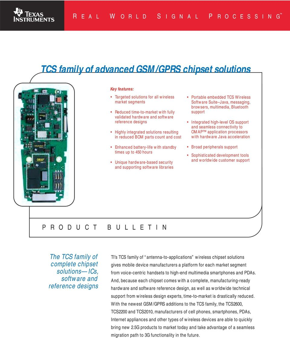 TCS family of advanced GSM/GPRS chipset solutions - PDF