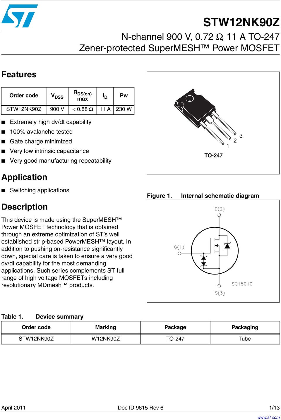 applications Description This device is made using the SuperMESH Power MOSFET technology that is obtained through an extreme optimization of ST s well established strip-based PowerMESH layout.
