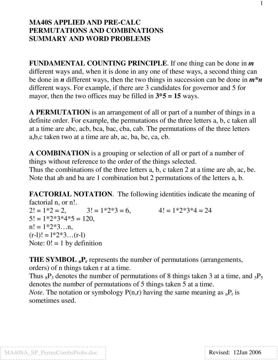 worksheet Combinations And Permutations Worksheet ma40s applied and pre calc permutations combinations summary different ways for example if there are 3 candidates governor 5 for
