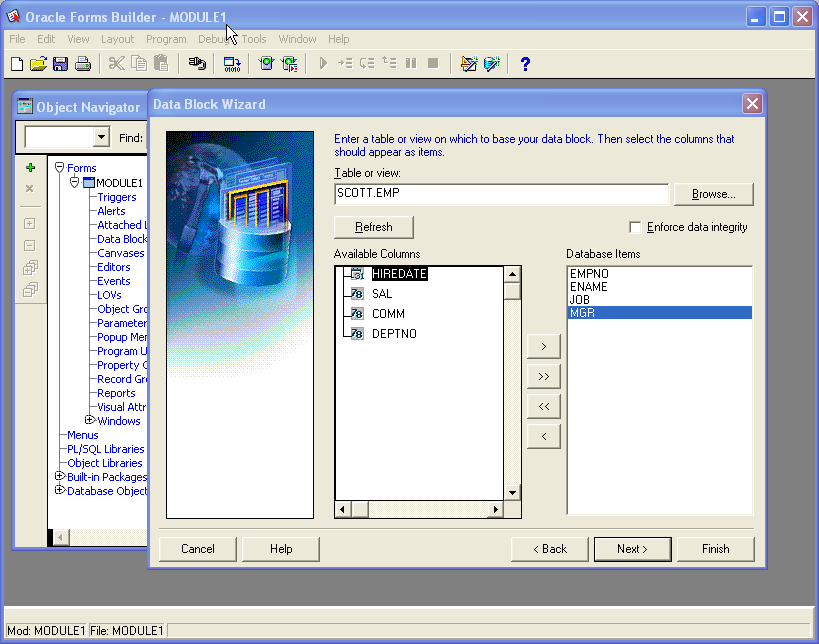 Figure 1: The Data Block Wizard in the Forms Builder.