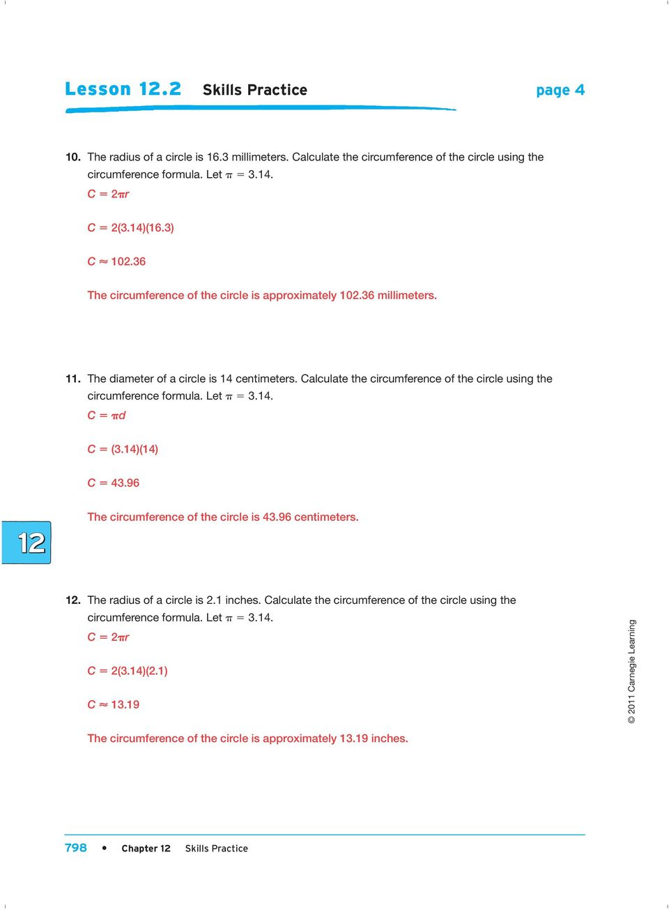 Calculate The Circumference Of The Circle Using The Circumference Formula  Let P 5 314