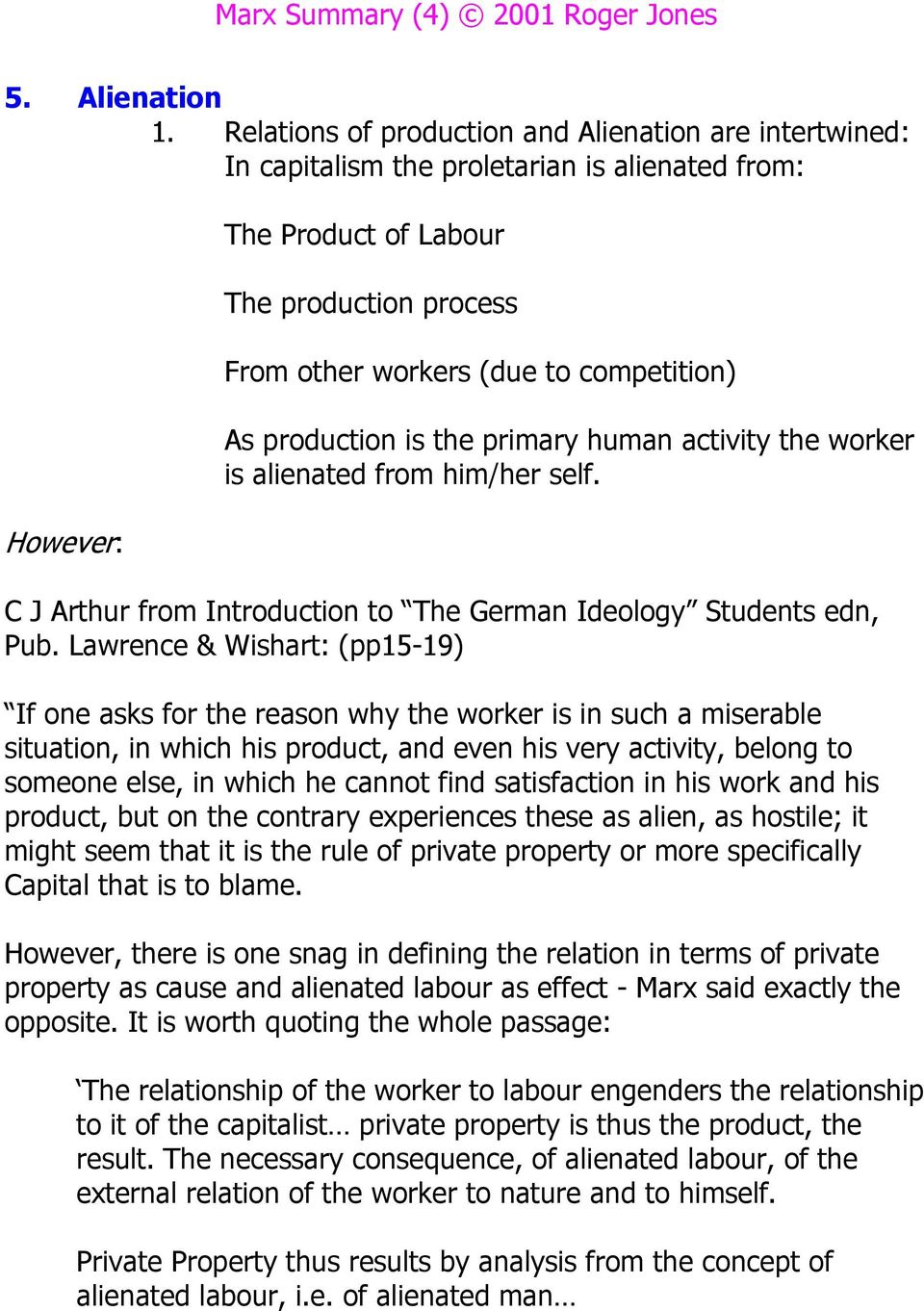 As production is the primary human activity the worker is alienated from him/her self. C J Arthur from Introduction to The German Ideology Students edn, Pub.