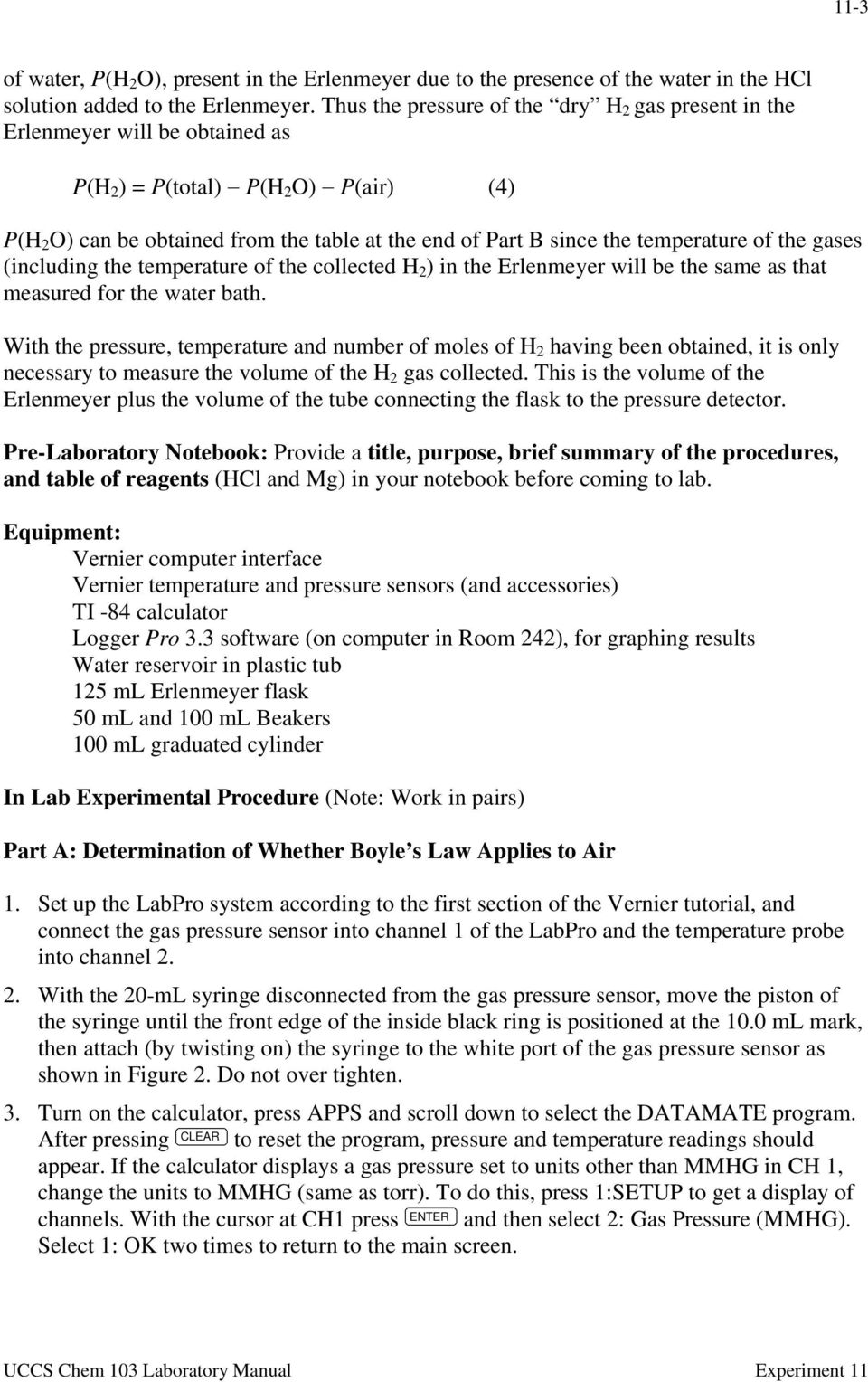 Experiment 11 The Gas Laws - PDF