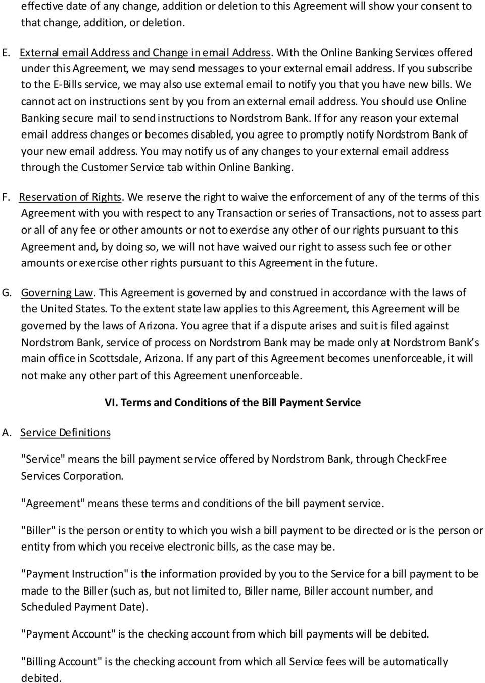 Nordstrom Bank Online Banking And Bill Pay Agreement Pdf