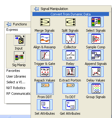 LabVIEW Data Types Color coding of terminals and block diagram wires Floating-point numbers Integer String Dynamic Boolean Right-click The dynamic data type is a special type for use with Express VIs.